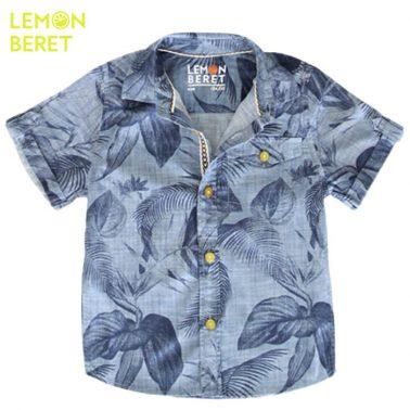 Риза къс ръкав с хавайски десен в деним от Lemon Beret
