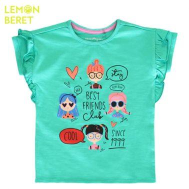Тениска Lemon Beret в зелено с щампа момичета с очила