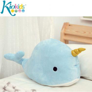 Плюшен кит за гушкане в синьо