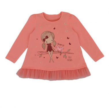 Детски комплект туника с момиченце и клин в цвят праскова