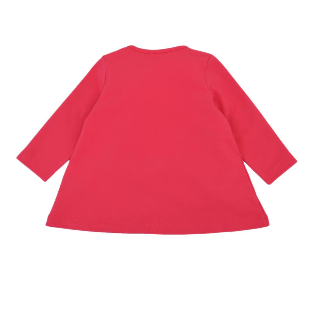 Трикотажна рокля с апликация с цветни сърца в цикламено
