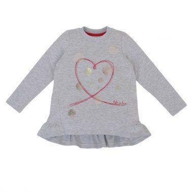 Детски комплект от туника със сърце и дълъг клин в цикламено