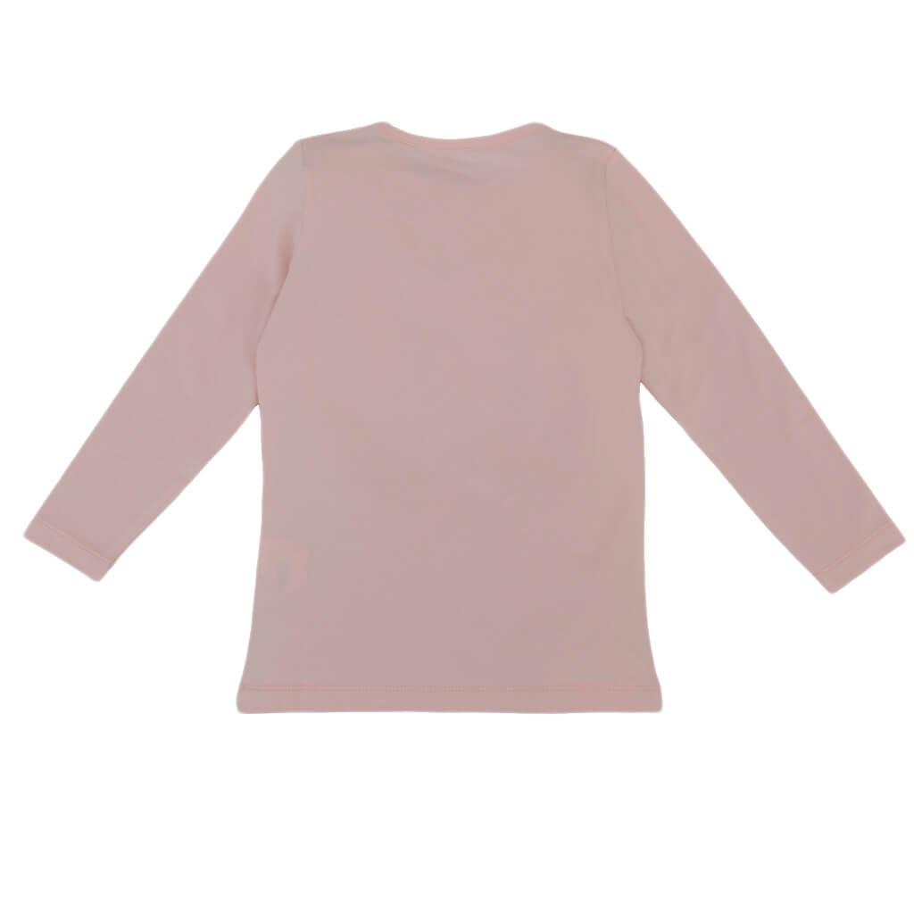 Ефектна детска блуза с щампа с момичета и декорация с панделки розова