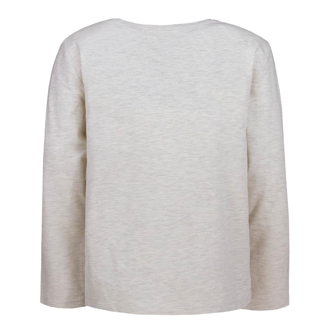 Детска блуза с щампа с брокат сива
