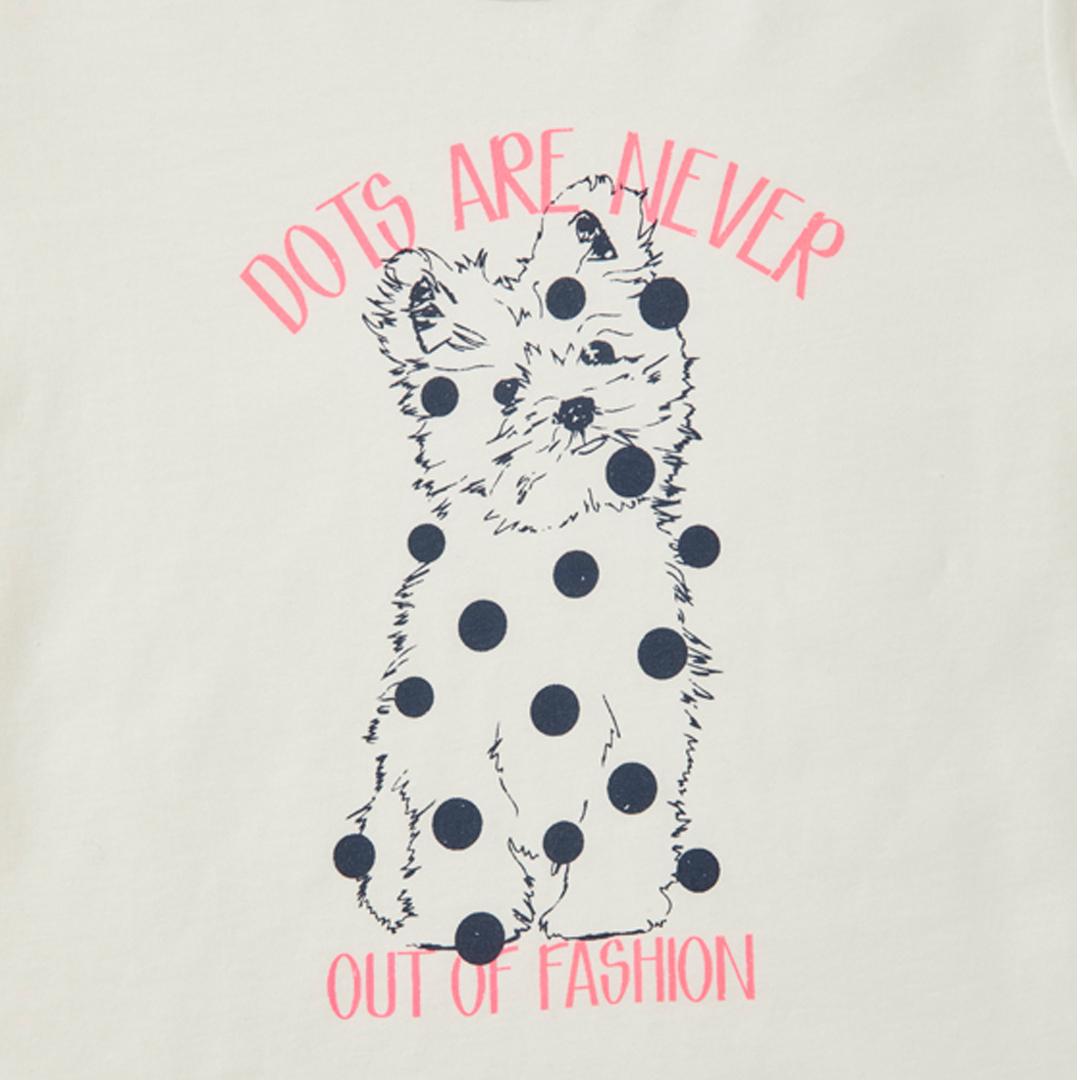 Памучна блуза с кученце на точки бяла