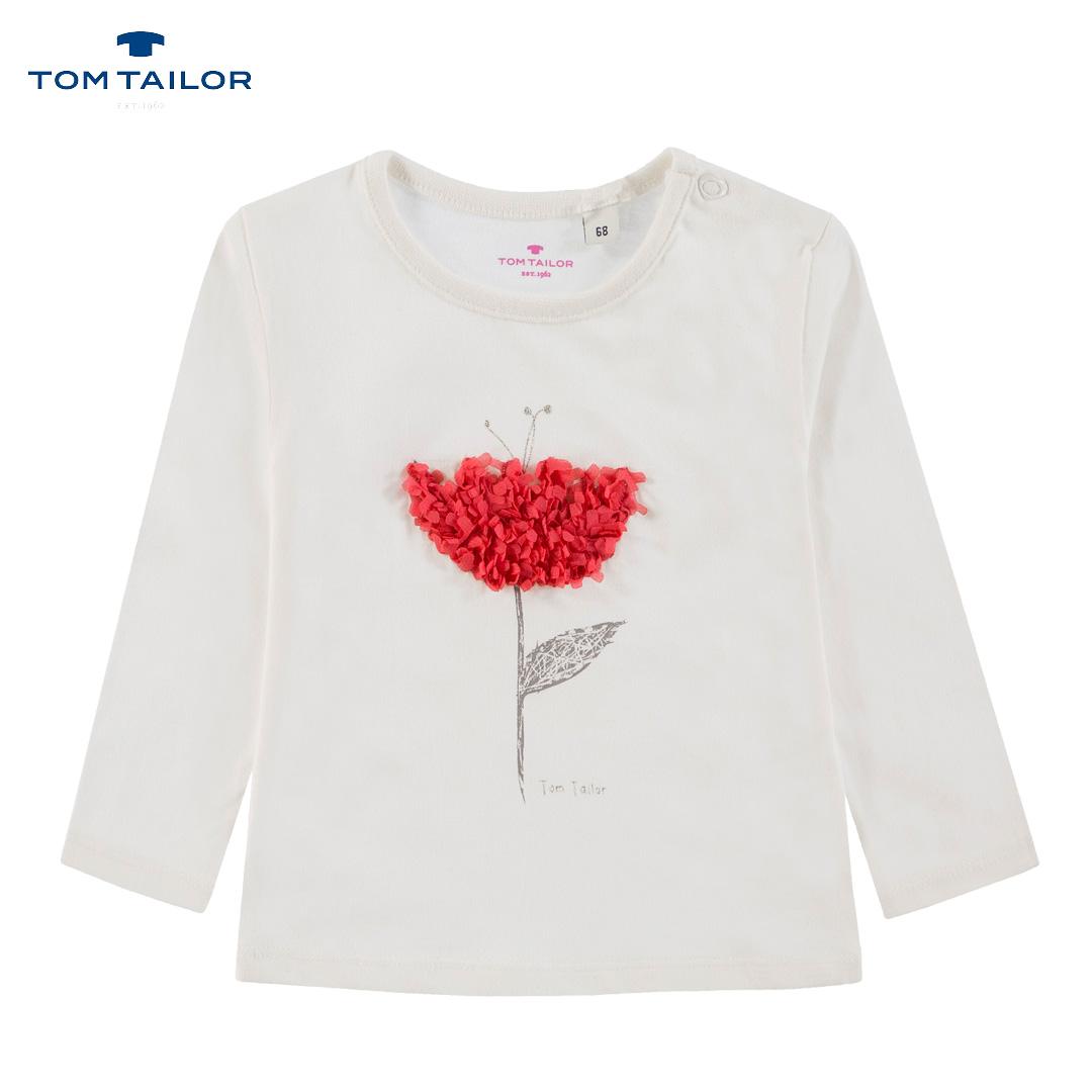 Бебешка блуза с апликация с цвете бяла