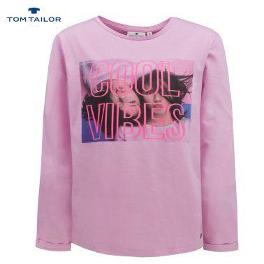Детска блуза с дълги ръкави и щампа Cool Vibes розова