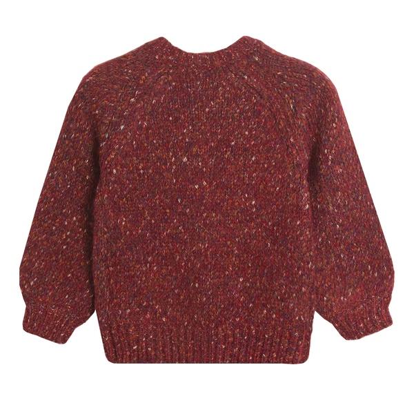 Детски плетен пуловер в червено