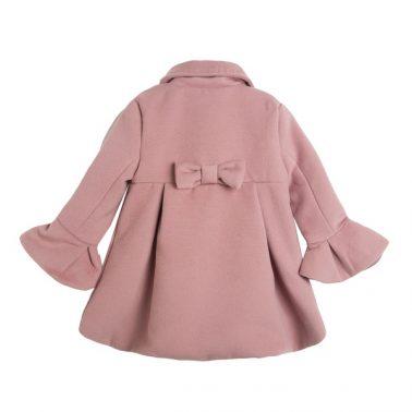 Елегантно детско палто с копчета в розово