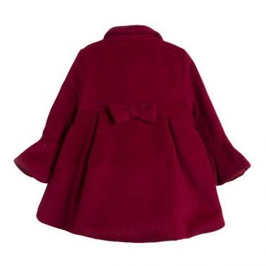 Елегантно детско палто с копчета в червено