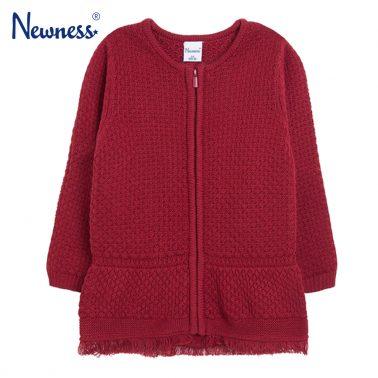 Елегантна детска плетена жилетка с цип в червено