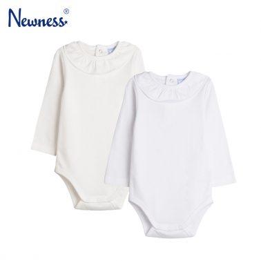 Комплект от 2 броя бебешко боди с якичка в бяло