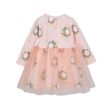 Детска рокля с тюл и еднорози цвят праскова