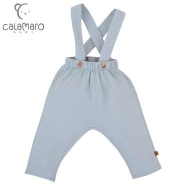 Бебешки дълъг панталон с тиранти в синьо