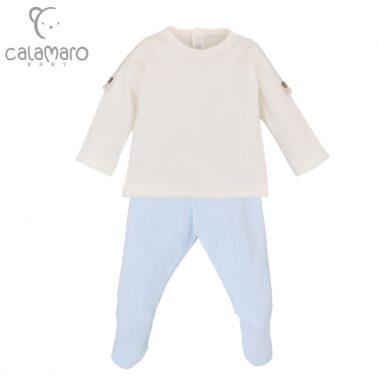 Ефектен бебешки комплект от блуза с пагони и ританки в светло синьо