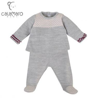 Бебешки комплект от фино плетиво с блуза и ританки в сиво