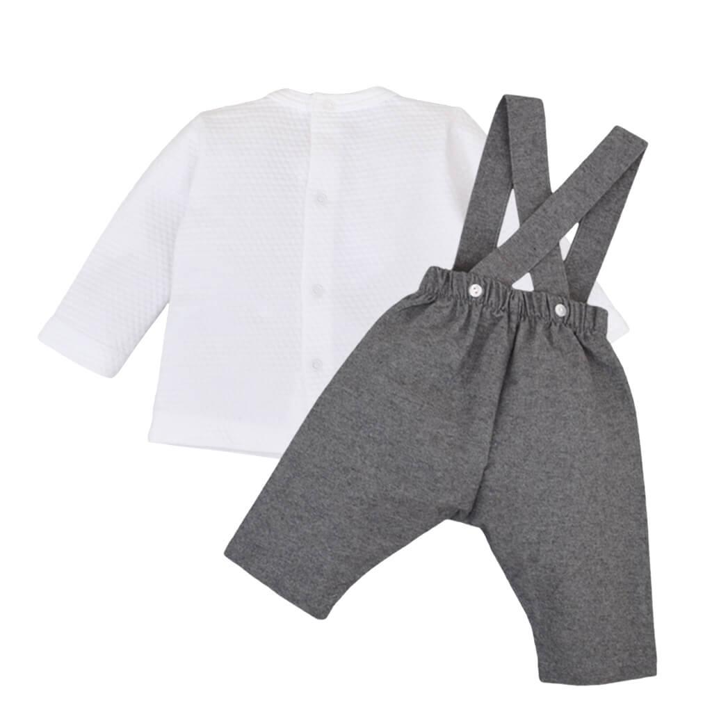 Бебешки комплект блуза и панталони с тиранти в сиво