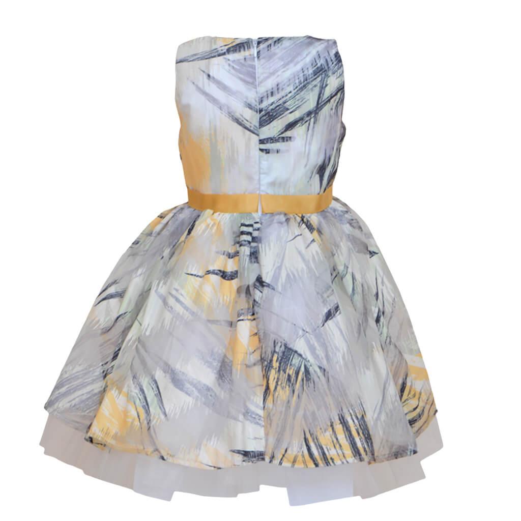 Официална детска рокля с тюл и коланче в жълто