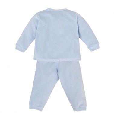 Плюшена пижама от две части с коте в синьо