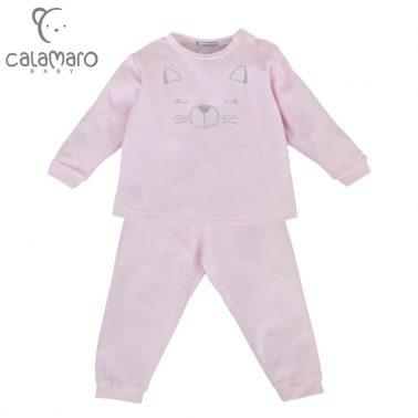 Плюшена пижама с коте в розово