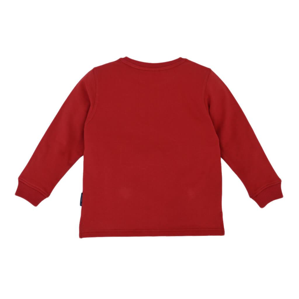 Детска ватирана блуза с апликация с пожарна в червено