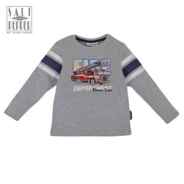Детска памучна блуза с дълги ръкави с апликация пожарна кола в сиво