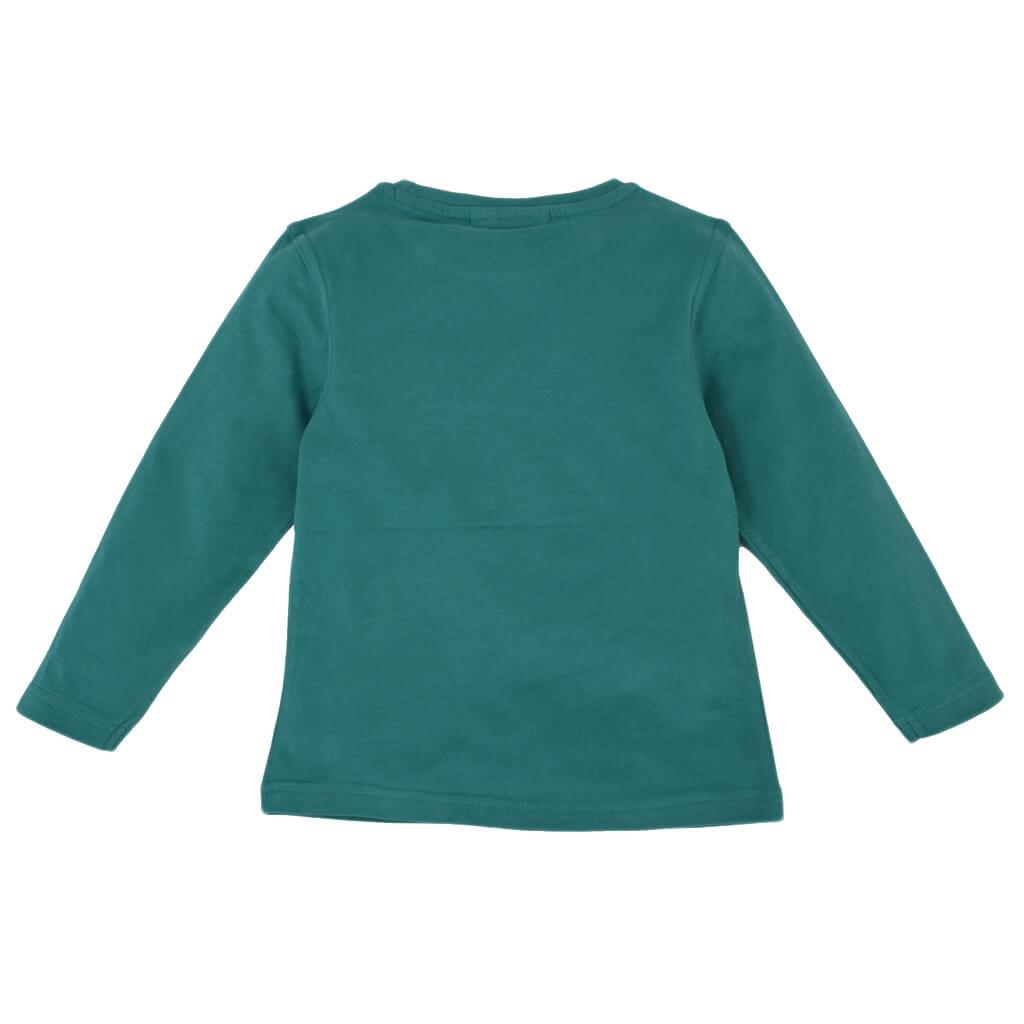 Детска памучна блуза с дълги ръкави с багер в зелено