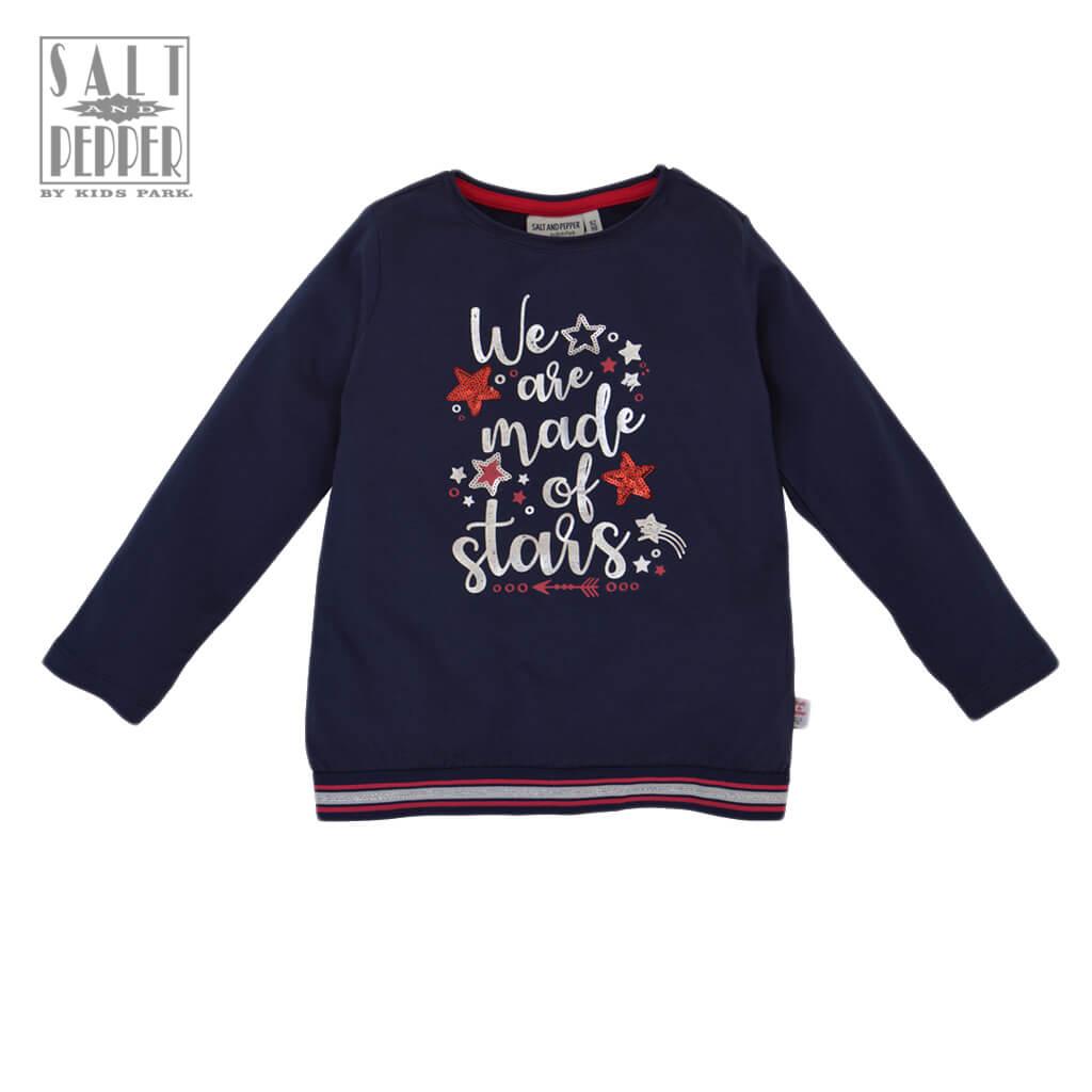 Детска блуза с дълги ръкави и бляскав надпис We are made of stars тъмно синя