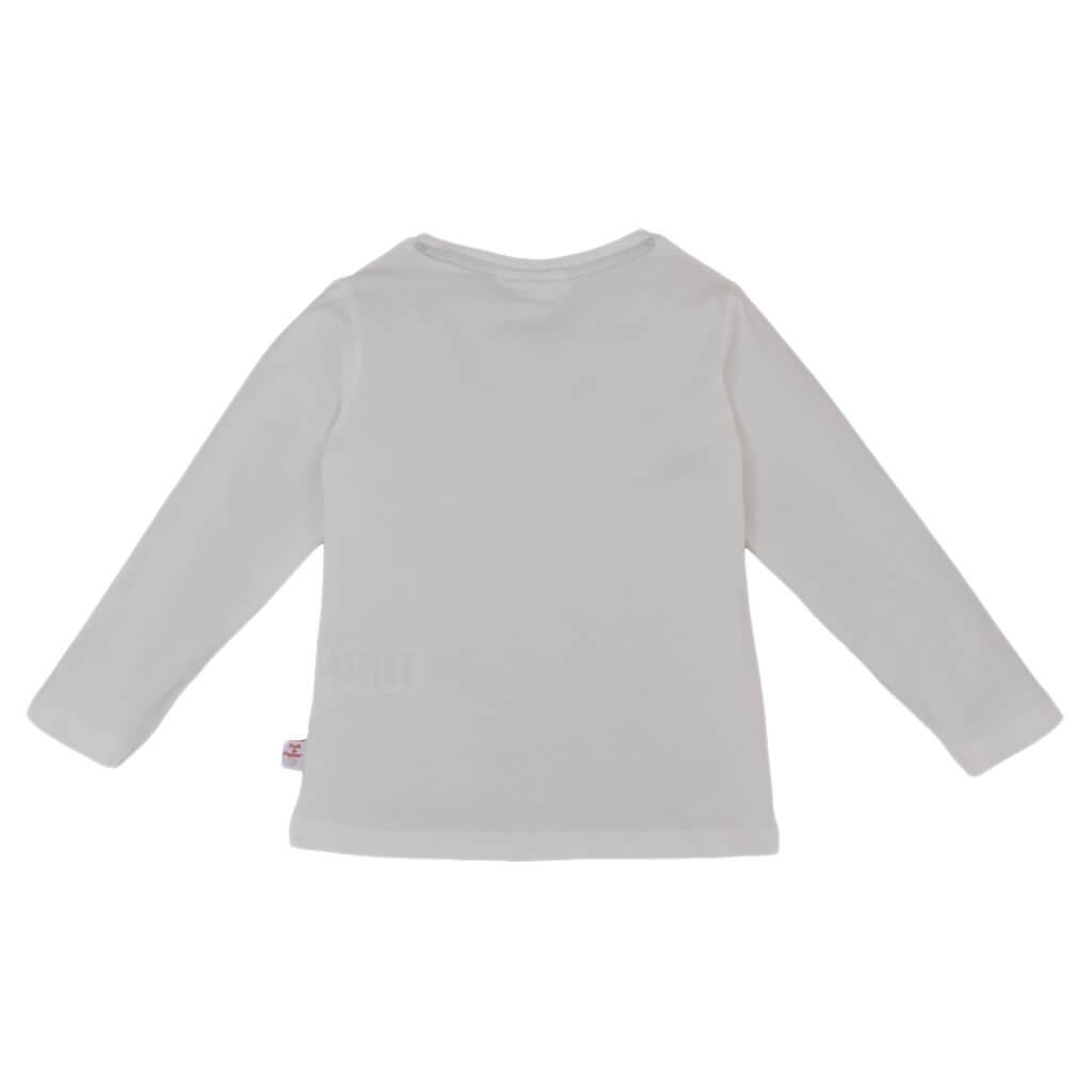 Детска памучна блуза с дълги ръкави и щампа Shine like the stars бяла