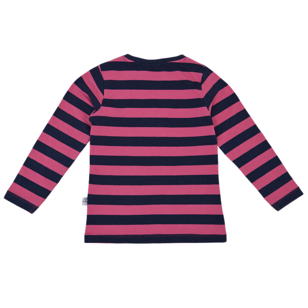 Детска блуза с дълги ръкави в райе с бродерия с конче тъмно синя