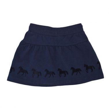 Детска пола с ластик и принт с кончета в тъмно синьо