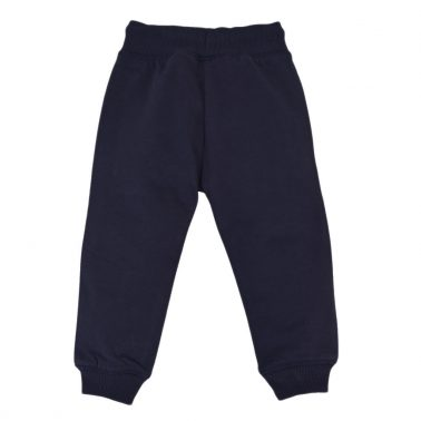 Детско ватирано долнище с джобове и връзки в тъмно синьо