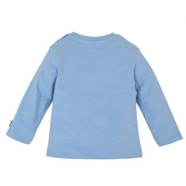 Бебешка блуза с дълги ръкави от органичен памук с бродерия багер в синьо