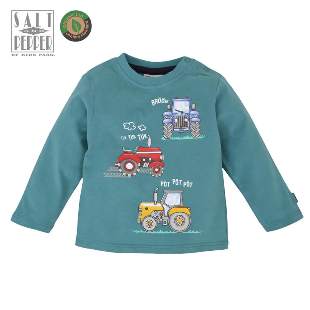 Бебешка блуза с дълги ръкави от органичен памук с принт с машини в зелено