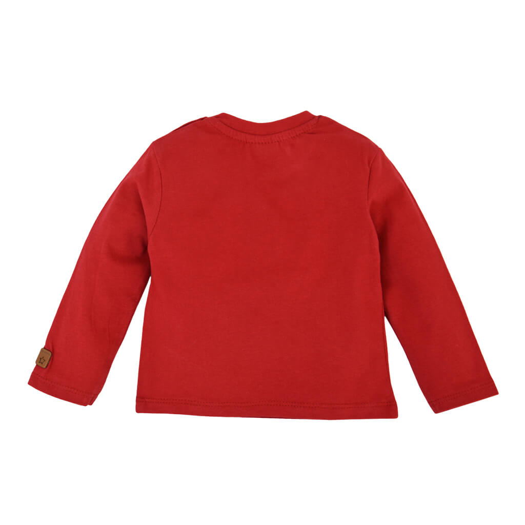 Бебешка блуза с дълги ръкави от органичен памук с щампа пожарна в червено