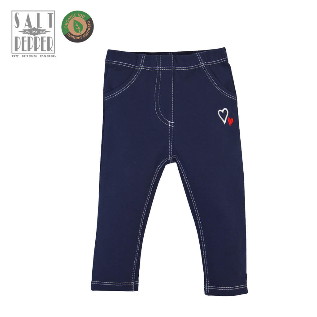 Долнище тип дънки с контрастни шевове в тъмно синьо
