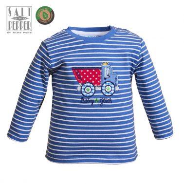 Бебешка блуза от органичен памук в райе с апликация с камион синя
