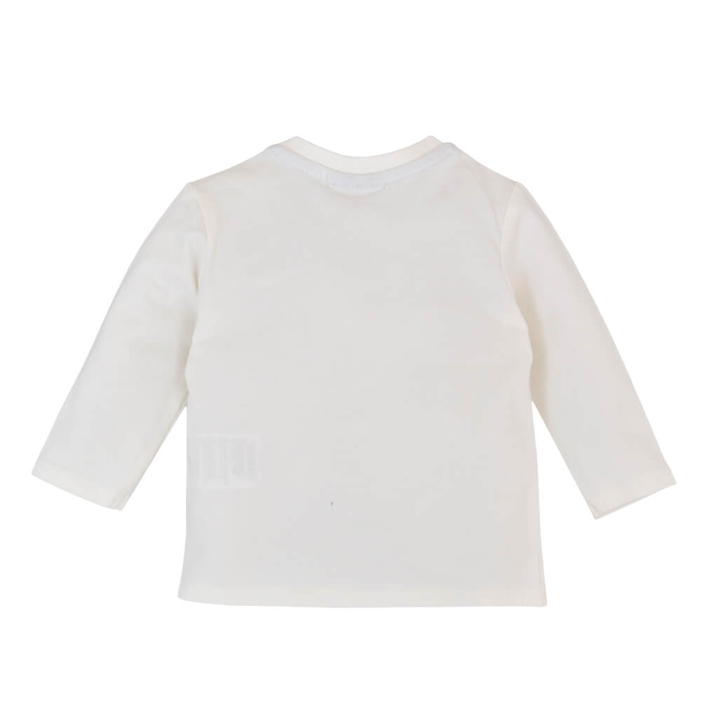 Бебешка блуза с дълги ръкави органичен памук със самолет бяла