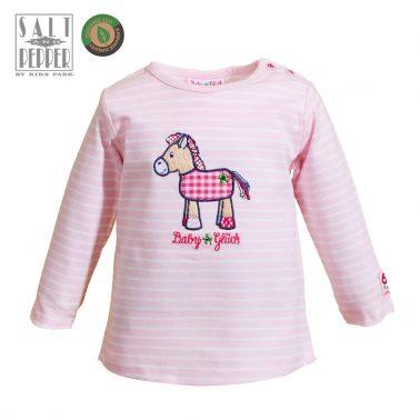 Бебешка блуза от органичен памук с магаренце в розово