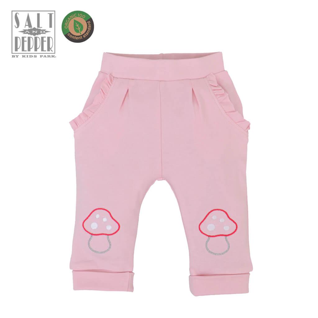 Бебешко долнище с гъбки в бледо розово