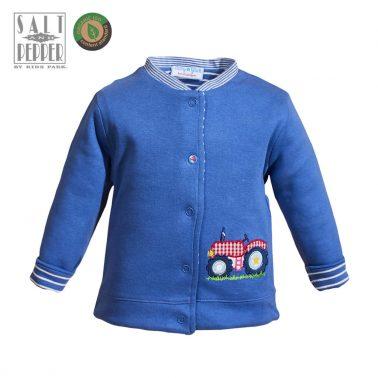 Бебешко двулицево яке от органичен памук с апликация трактор в тъмно синьо