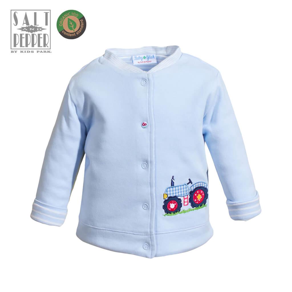 Бебешко двулицево яке от органичен памук с апликация трактор в светло синьо