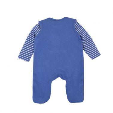Бебешки комплект гащеризон и блуза с дълги ръкави от органичен памук син