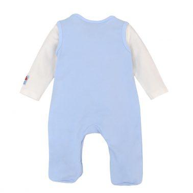 Комплект гащеризон и блуза от органичен памук в светло синьо