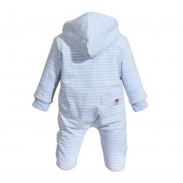 Бебешки зимен гащеризон от органичен памук в светло синьо