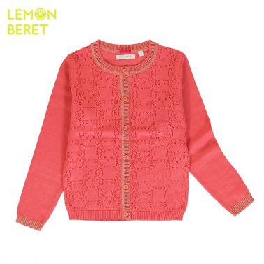 Детска жилетка с ламе и ажурни елементи розова