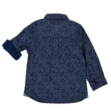 Елегантна детска риза с листенца в тъмно синьо