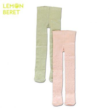 Комплект 2 броя плътни чорапогащи в розово