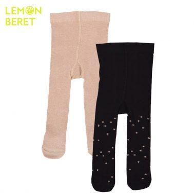 Комплект от 2 броя детски чорапогащници с ламе черно