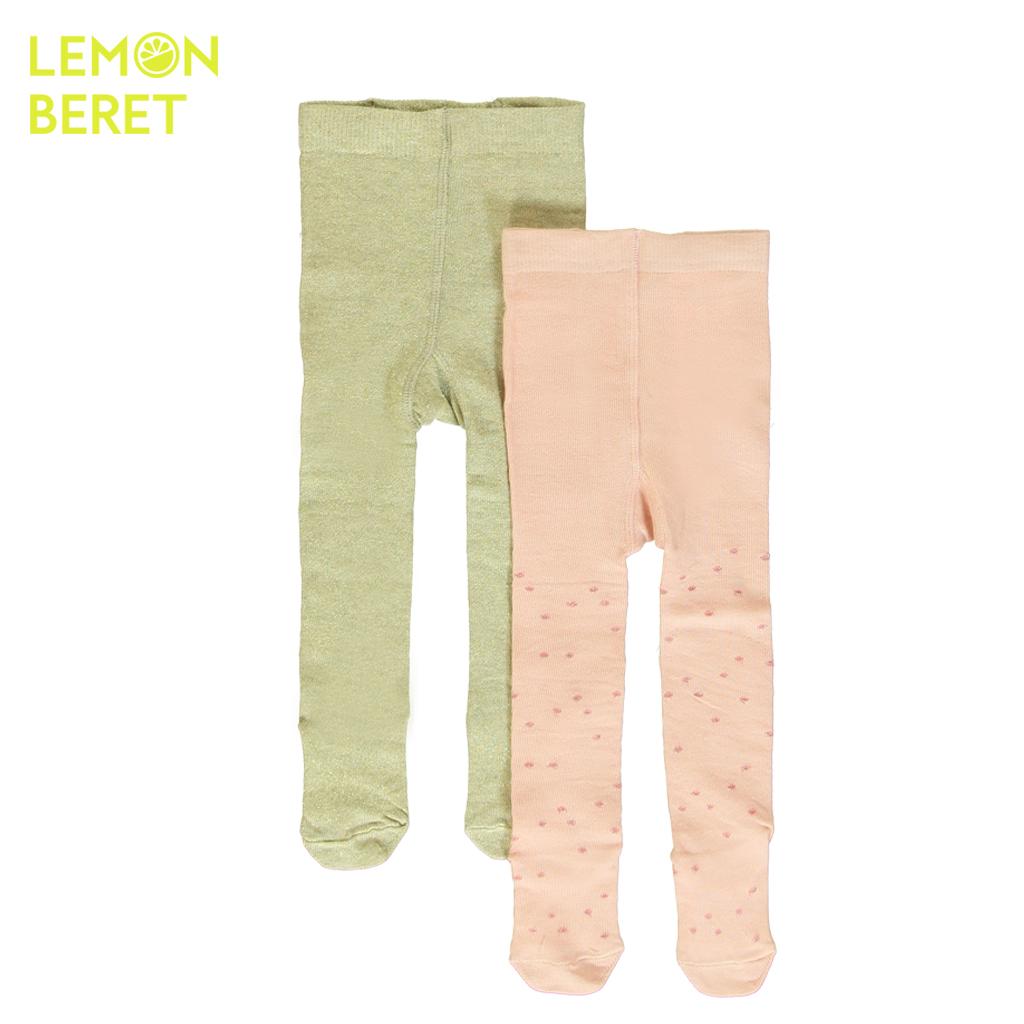 Комплект от 2 броя детски чорапогащници с ламе праскова